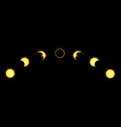 solar eclipse phases in dark sky vector image