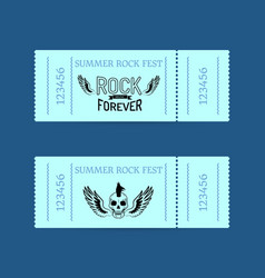 summer rock fest collection of tickets on blue vector image vector image
