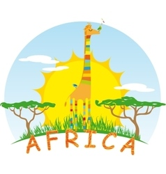 Sunny Giraffe on Background of the African Sun vector image