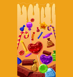 Sweets cakes banner vertical cartoon style vector