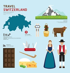 Travel Concept Switzerland Landmark Flat Icons vector image vector image