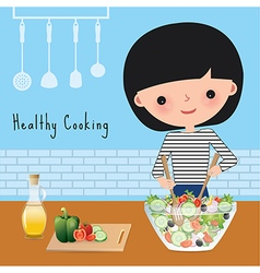 Woman healthy cooking in the kitchen vector image vector image