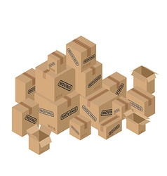 Moving many of cardboard boxes paper packaging for vector