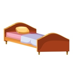 Single wooden bed icon cartoon style vector