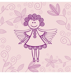 Angel floral background vector