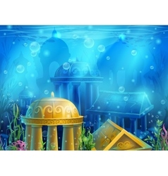 Underwater ruins vector