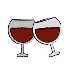 Drawing two glass brandy beverage alcohol vector