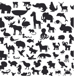 seamless pattern with black animals silhouettes vector image