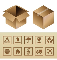Cardboard delivery box and package icons vector
