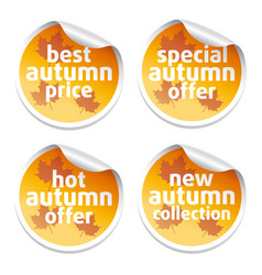 Set with offer sale autumn stickers vector