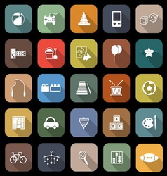 Toy flat icons with long shadow vector