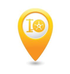 wheel pump icon map pointer yellow vector image