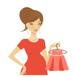 Beautiful mom to be holding dress vector