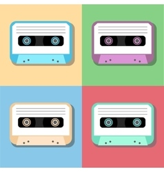 Old vintage audio tapes icon vector
