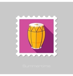 Drum flat stamp with long shadow vector
