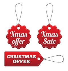 Christmas offer red stitched tags set vector