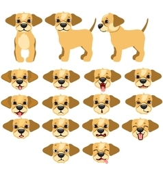 Funny dogs expressing emotions big set vector