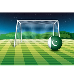 A soccer ball with the pakistan flag vector