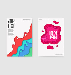 abstract paper cut layered posters fluid shapes vector image vector image