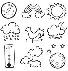 Art of weather doodle set vector