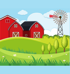 Background scene with red barns and wind turbine vector