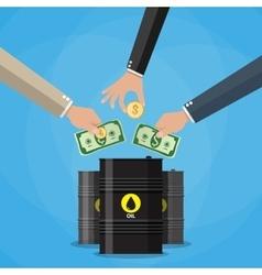 Businessman hand picking up money into oil barrel vector