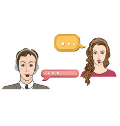 Call center concept man and woman in headset icon vector