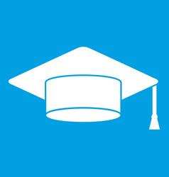Cap student icon white vector
