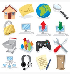 cartoon internet icons vector image vector image
