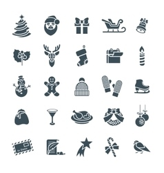 Christmas symbols flat silhouette icons set vector