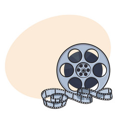 Classical motion picture cinema film reel sketch vector