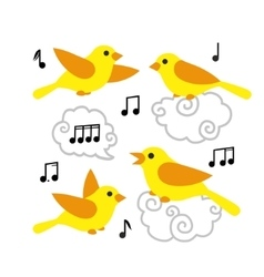 Collection of cute cartoon birds and notes in the vector image