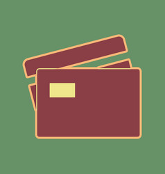 Credit card sign cordovan icon and mellow vector