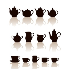 Crockery objects silhouettes set with reflection vector image