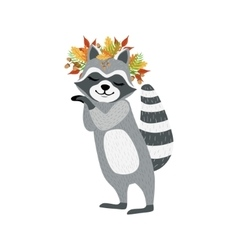 Cute Raccoon Character With Autumn Leaves Chaplet vector image vector image
