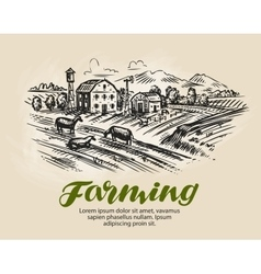 Farm sketch agriculture farming vector