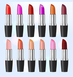Fashion lipstick ads colorful lipsticks arranged vector