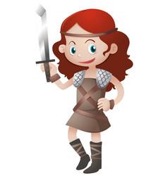 Female warrior with sword vector