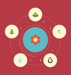 flat icons tree eco energy water and other vector image vector image