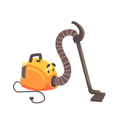 funny vacuum cleaner character with smiling face vector image vector image