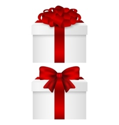 Gift collection in a box with red bow vector
