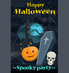 Halloween greeting card of holiday night horror vector