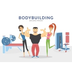 Happy bodybuilder with two women in the gym vector