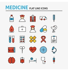 Healthcare and medical colorful flat line icons vector