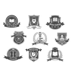 Icons badges set for college or university vector