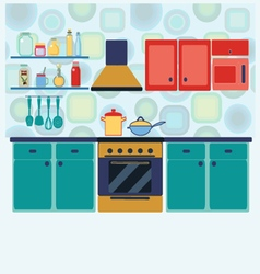 Kitchen with furniture set cozy kitchen interior vector