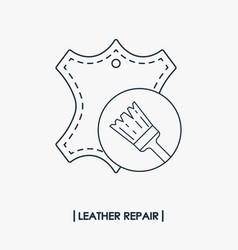 Leather repair outline icon vector