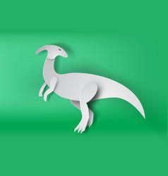 Paper art of parasaurolophus dinosour on green vector