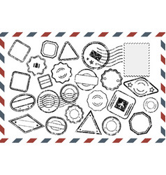 postal stamps set on envelope vector image vector image