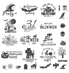 Set of Halloween party concept and design elements vector image vector image